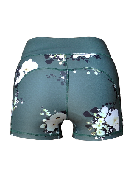 Nara green floral printed running shorts back