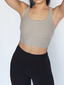 Vertical Crossback Sports Bra- NUDE