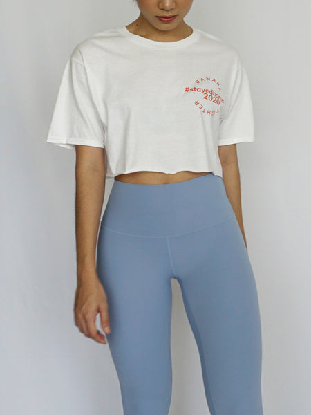 #StayedHome2020 Cropped Tee- WHITE