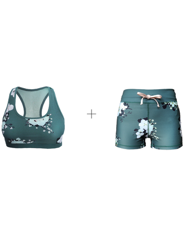 Nara green floral printed sports bra and shorts combo