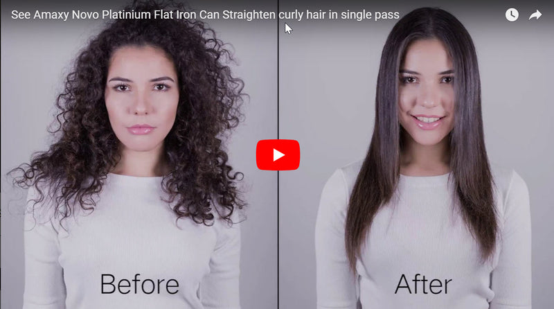 See How Amaxy Novo Flat Iron Can Straighten The Most Curly Hair With Just One Pull