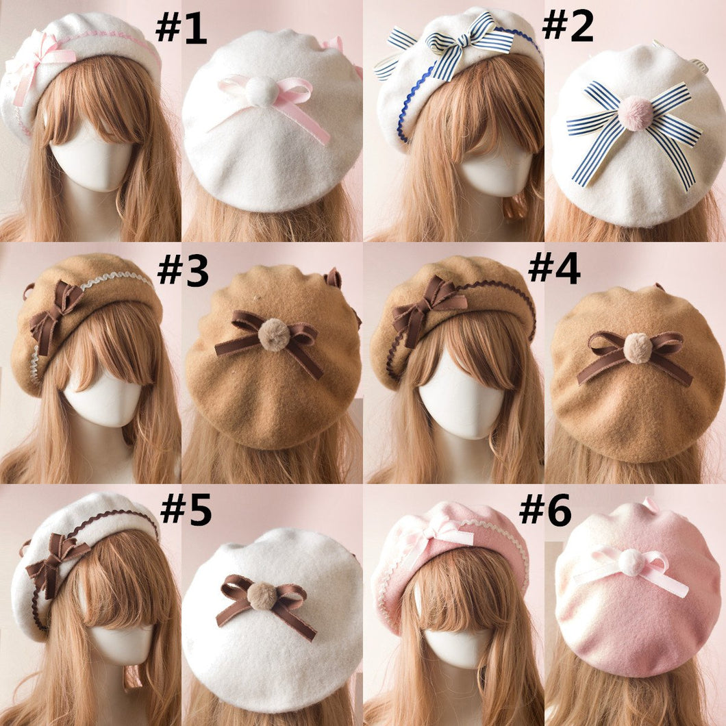 17 Colors Pastel Ruched Bow Beret SP13350 – Spreepicky EU