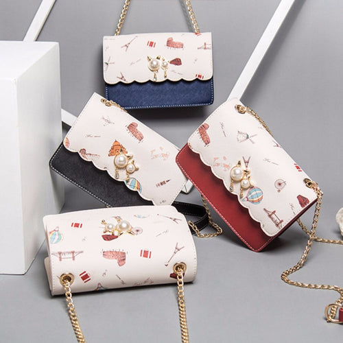 4 Colors Kawaii Pearl Cat Cross Body Bag SP13668