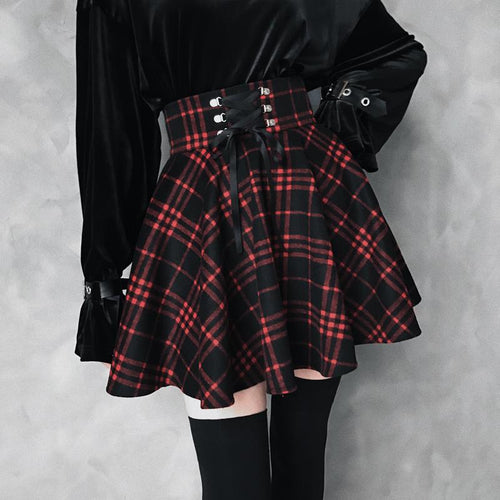 Black-Red Gothic High Waist Laced Plaid Skirt S13026