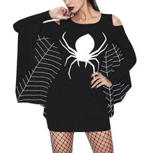 Black/White Spider Off-Shoulder Long Sleeve Shirt SP14228