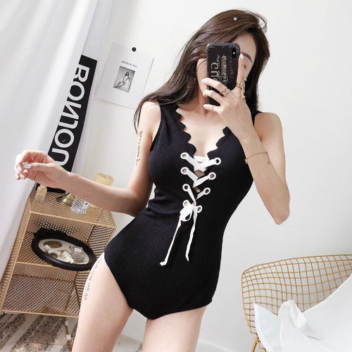 Black Falbala Laced Swimsuit SP13752