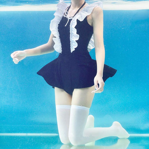 Black Kawaii Falbala Swimsuit SP13743