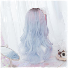 Blue Pink Mixed Lolita Long Curl Wig S12800