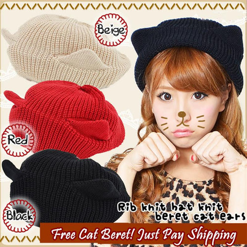 63686f5f87f38 Red Black Beige Kawaii Kitty Ears Knitting Hat S13029