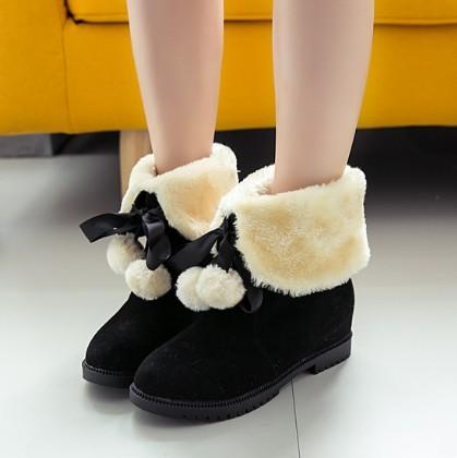 beautiful and charming women wide selection Black/Brown/Red Kawaii Fluffy Ankle Boots SP1710963