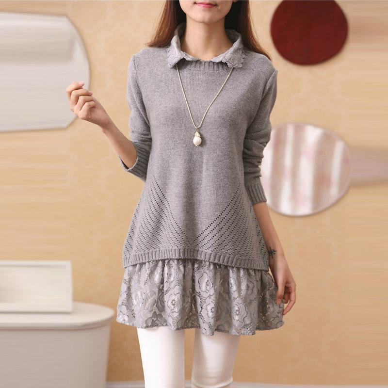 ... Beige Pink Grey Sweet Lace Bow Two-Piece Sweater SP1710807 ... f1234e232