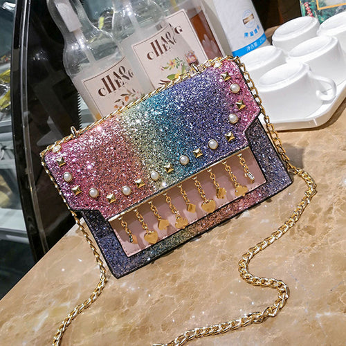 Colorful/Black/Blue/Brown Shining Tassel Cross Body Bag SP1811938