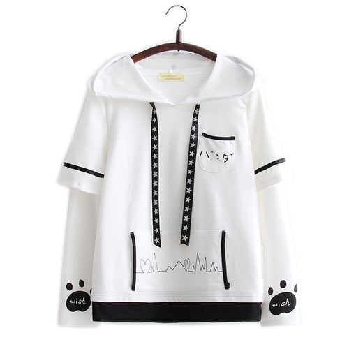 a6542b43e6e286 White Kawaii Panda Long Sleeves Hoodie Shirt SP1711005