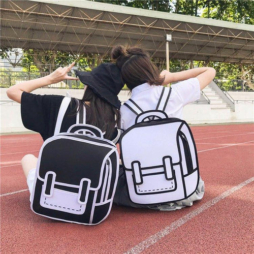 White/Black 2D Cartoon Backpack SP13774