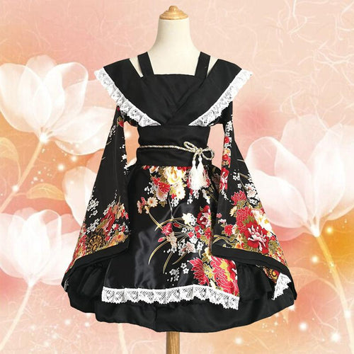 White/Pink/Red/Black Lolita Floral Maid Kimono SP1710542