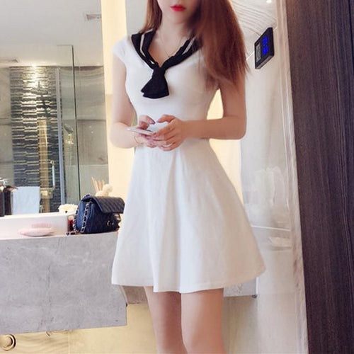 White Preppy Style Sailor Dress SP13436