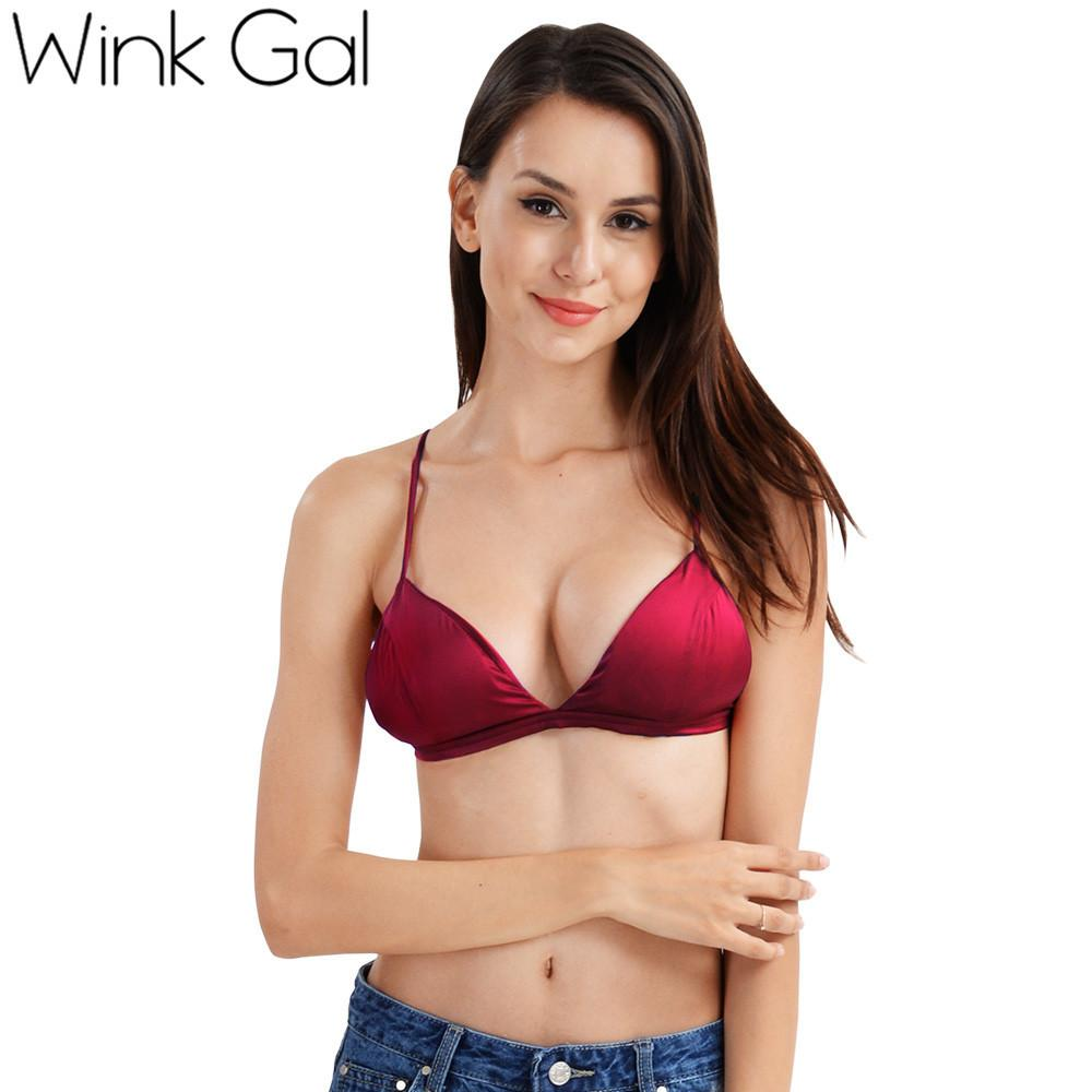 27c1c37d3c4896 ... Wink Gal Solid Color Padded Bra Seamless Wireless Bra Lingerie  Brassiere Spaghetti Straps Open Back Sexy ...