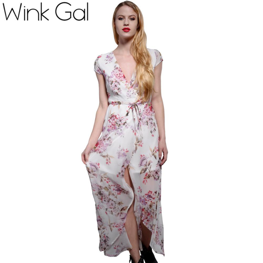 d75af2706ca Wink Gal Elegant Boho Summer Maxi Dress Long Dress Navy Blue Deep V Neck  Floral Print ...