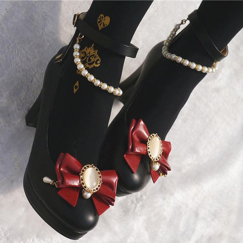03fb499c3 4 Colors Amazing Faux Jewelry Lolita High Heel Shoes SP168475