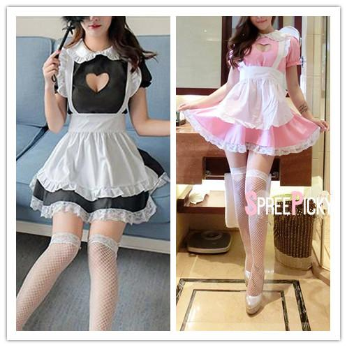 Black/Pink Kawaii Heart Hollow Out Maid Uniform Set SP1812248