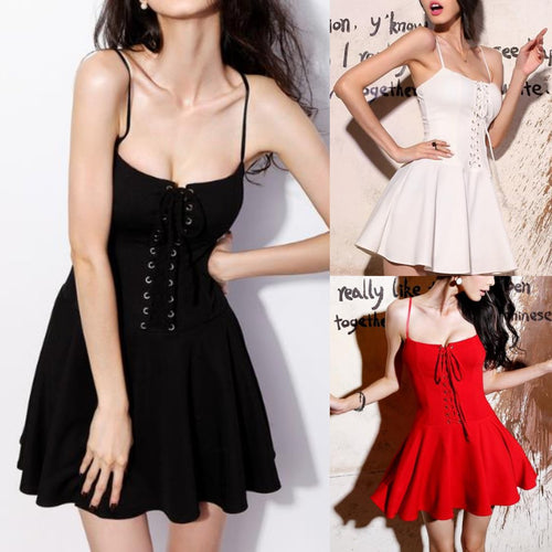 673ef61bbeb0 Black/White/Red Sweet Laced Chest Dress SP1812545
