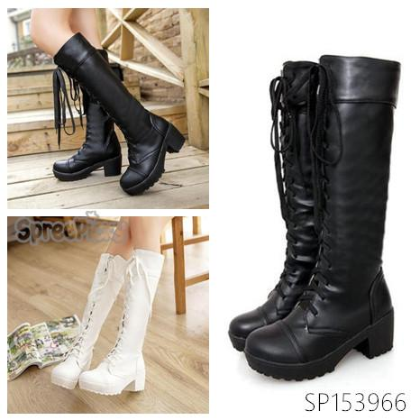 Black/White British Style Long Boots SP153966