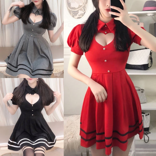 Grey/Red/Black Sweet Heart Hollow Out Short Sleeve Dress S12658