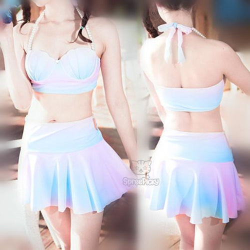 S-XL Pastel Mermaid Swimsuit Sea Shell Bikini Set SP166476