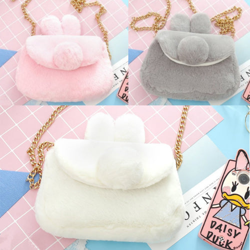 Pink/White/Grey Kawaii Plush Bunny Ear Shoulder Bag SP1812416