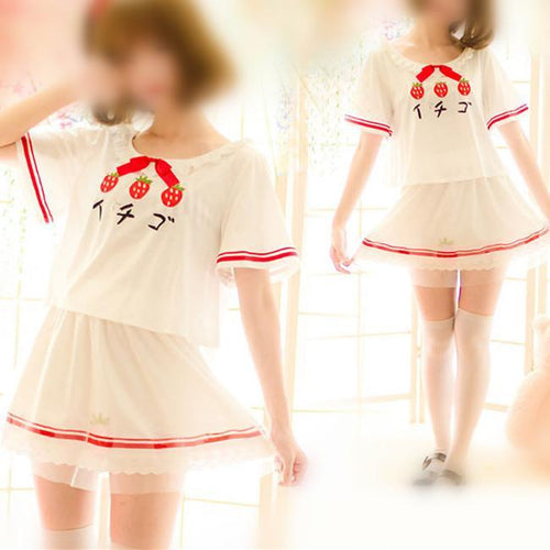 d6def3f9915f13 S-L Kawaii Strawberry Printing T-Shirt/Skirt SP166021