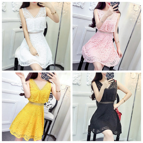 4fdeb63607fe White/Pink/Yellow/Black Sweet Lace Flover Dress SP1812578