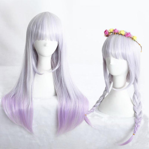 White Mixed Purple Lolita Long Hair Wig SP166806