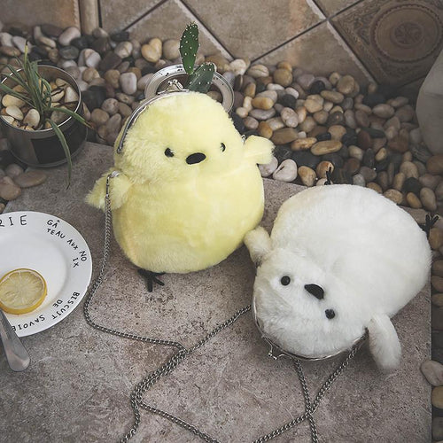 Yellow/White Kawaii Little Chick Plush Cross Body Bag SP168553