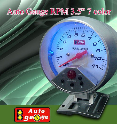 "AUTO GAUGE 3 3/4"" , 11,000 RPM , TACHOMETER WITH SHIFT LIGHT ."