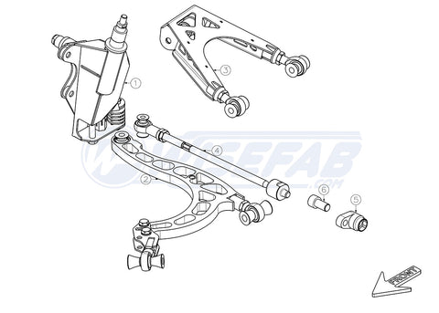 WISEFAB = Nissan R Chassis R34 Skyline Gt-t Front Steering Lock Kit