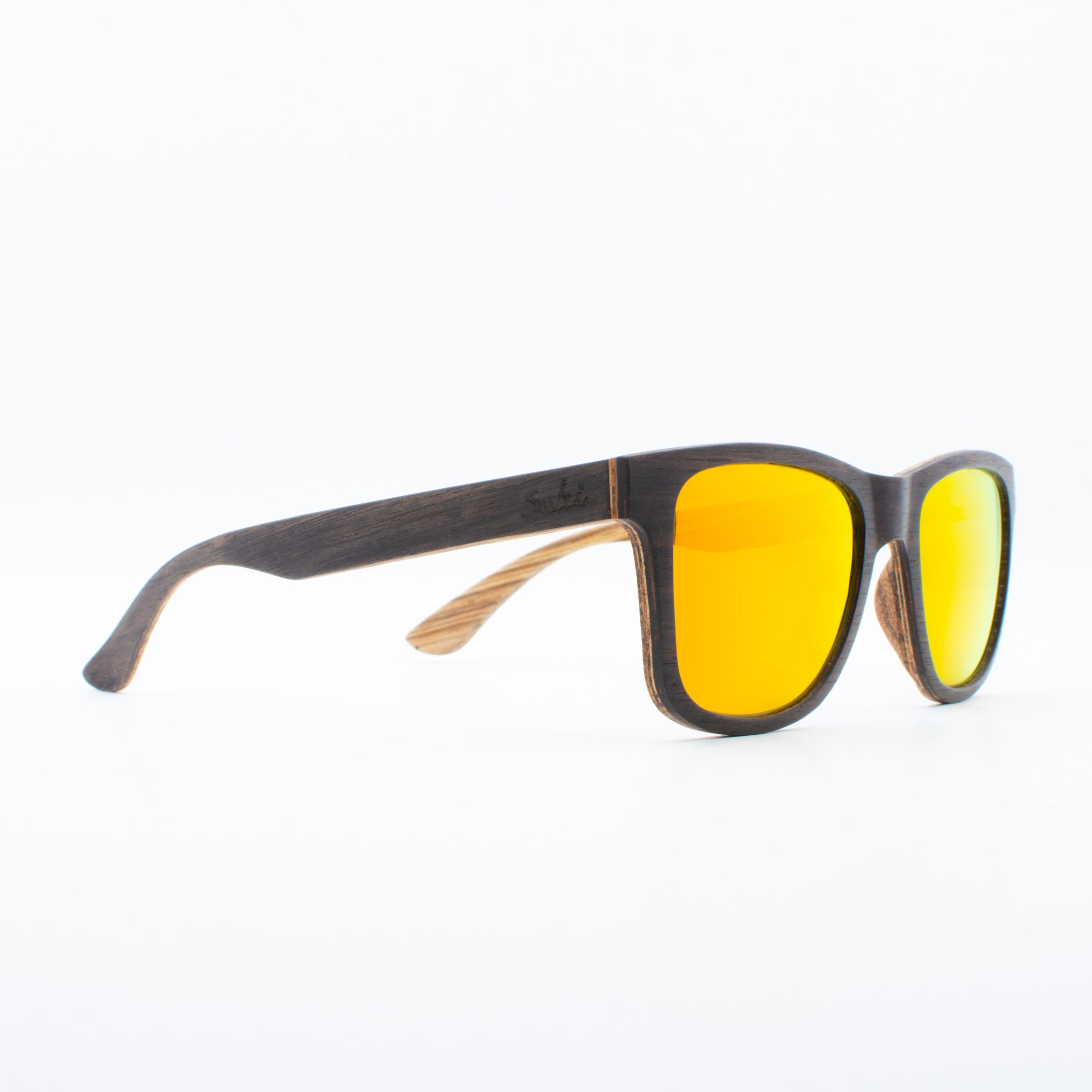 WOODEN SUNGLASSES JOGJA EBONY REVO ORANGE SUKI RIGHT