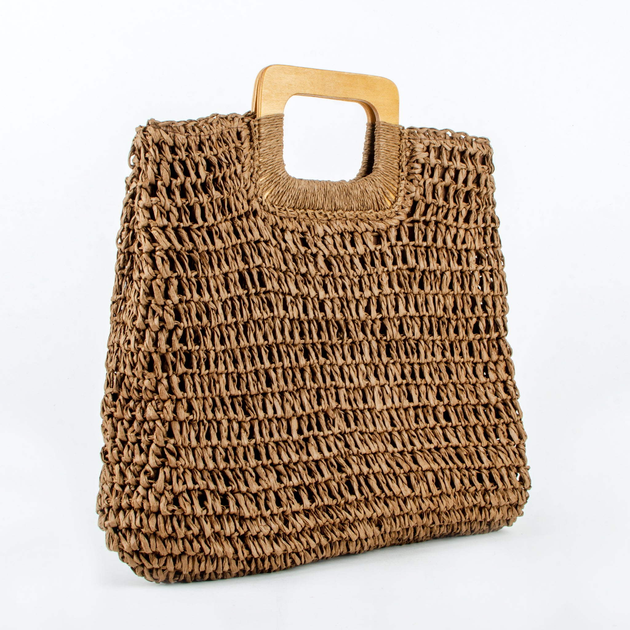 Straw bag amaria brown ecoego