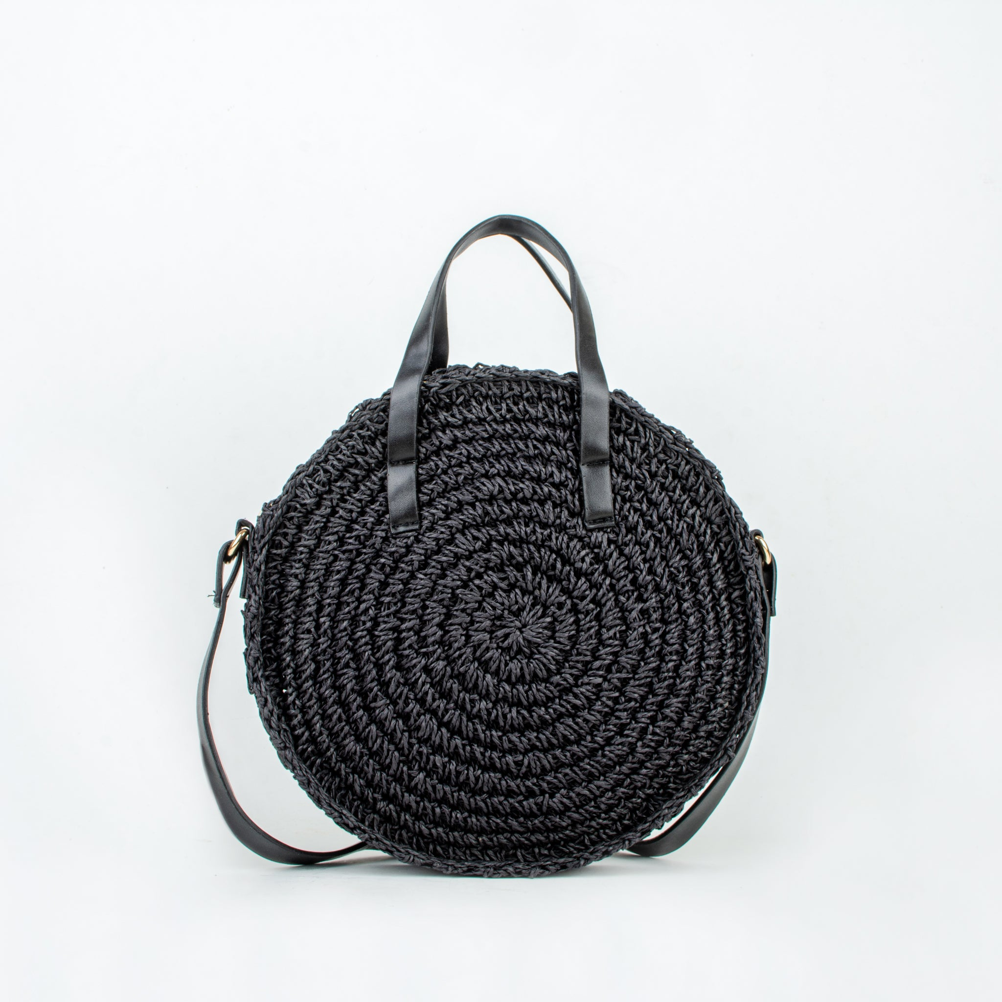 Straw bag naoko black ecoego