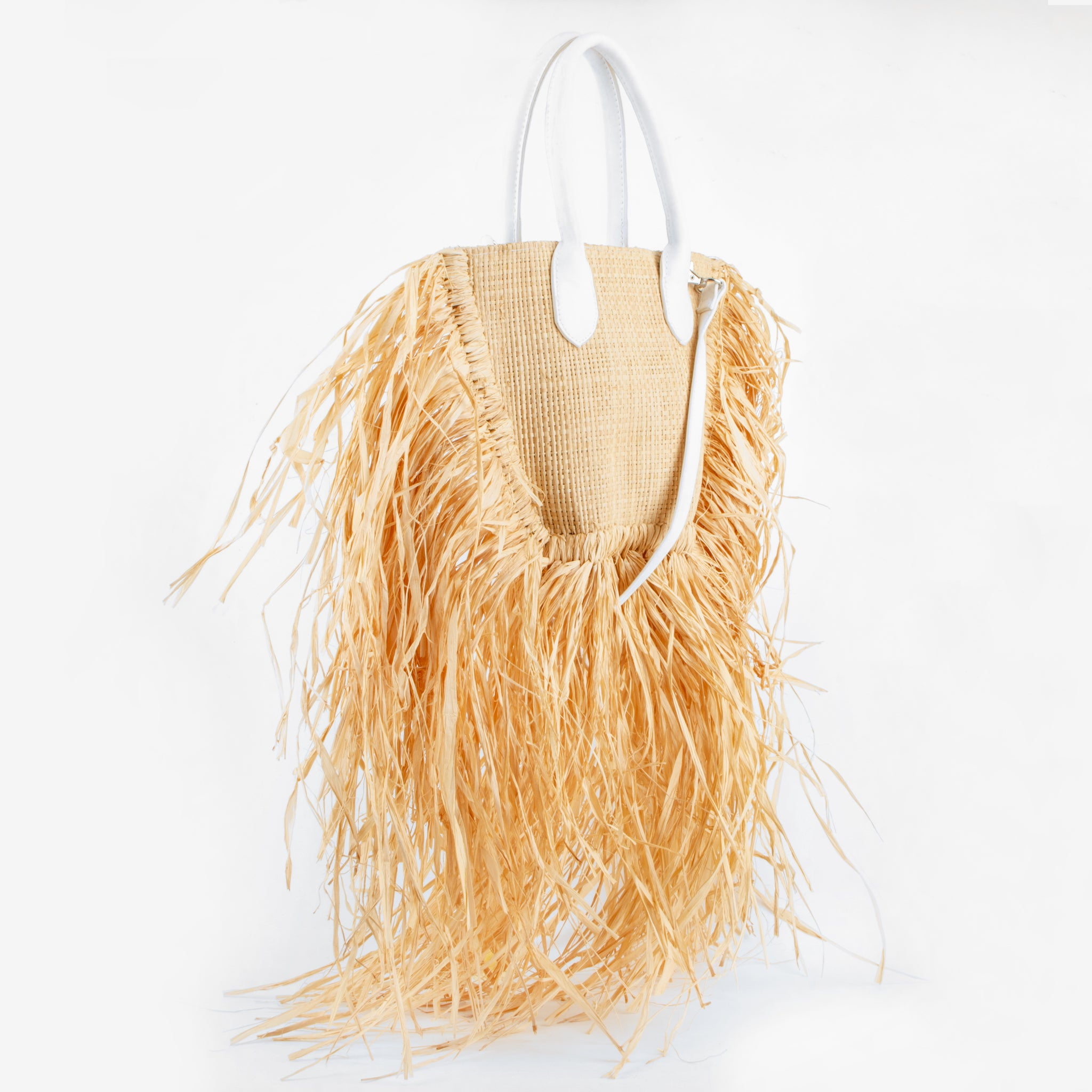 straw bag sachi white ecoego