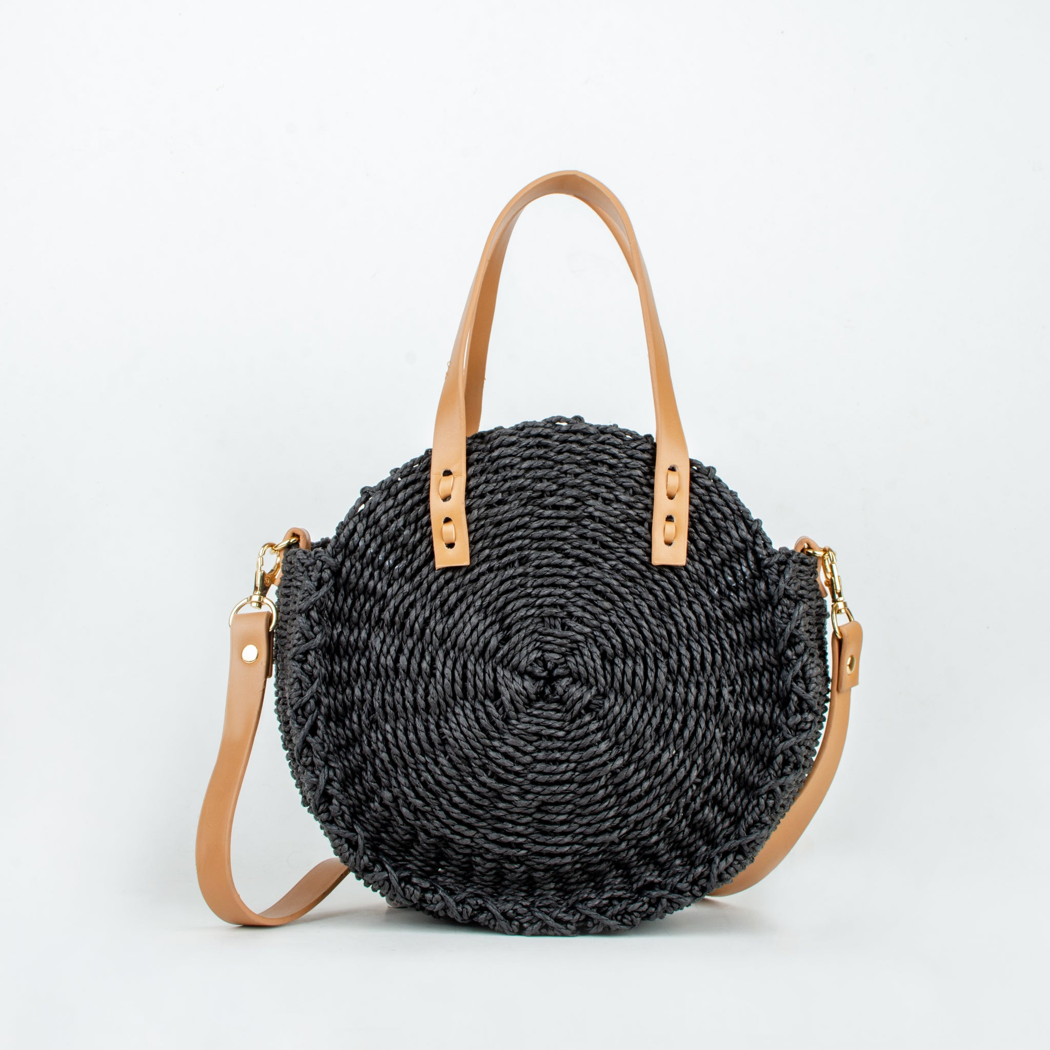 Straw bag tami black ecoego