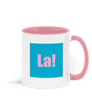 La mug. Blue on pink. Inspired by It's a sin.