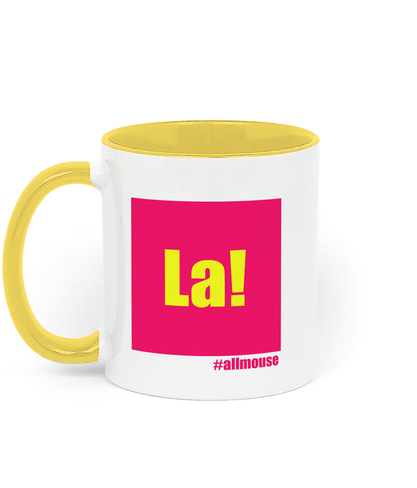 La mug. Bright pink on yellow. Inspired by It's a sin.