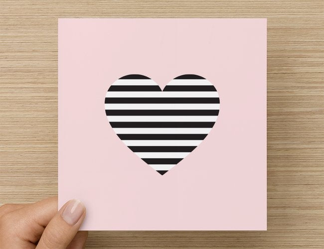 Pink striped heart Valentine's Day card