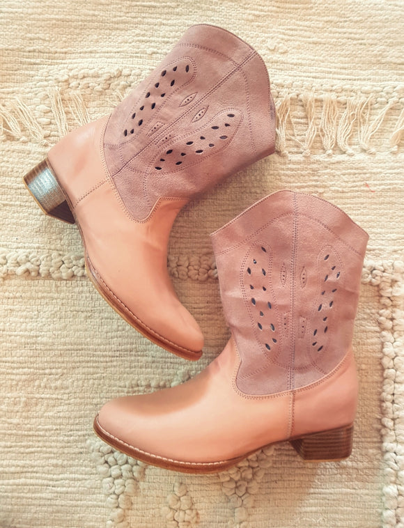 Pink Blush Leather Boots Featherhorn the Label