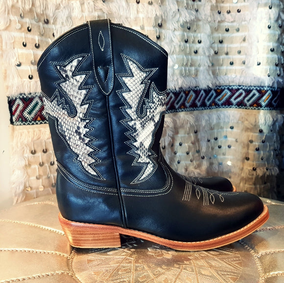 Black Snakeskin Cowboy Boots Featherhorn the Label