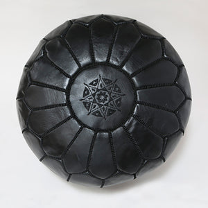 Moroccan Leather Pouffe Black