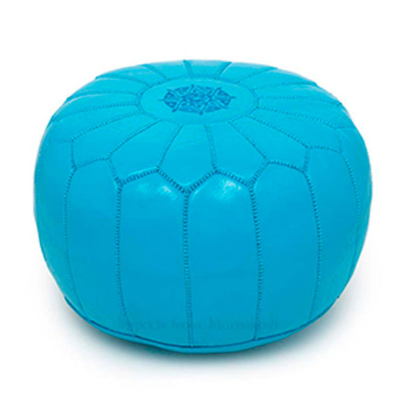 Moroccan Leather Pouffe Blue