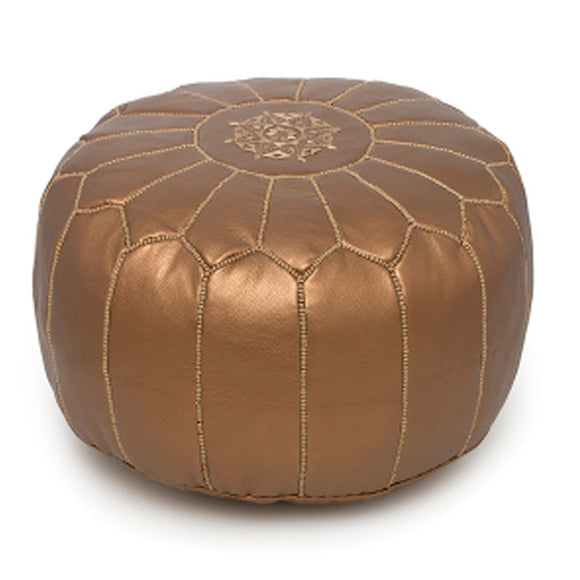 Moroccan Leather Pouffe Bronze