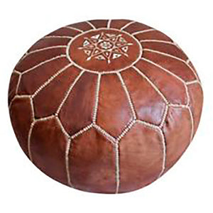 Moroccan Leather Pouffe Brown
