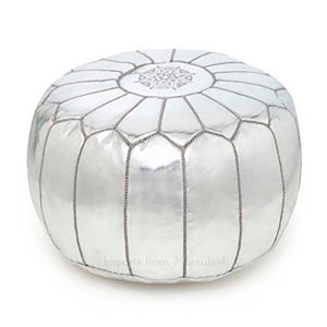 leather pouffe silver